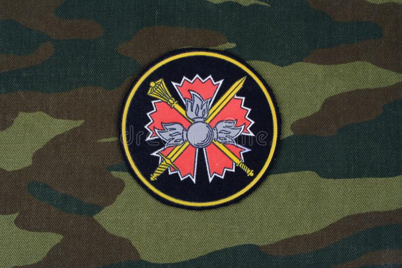 KYIV, UKRAINE - Feb. 25, 2017. Russian Main Intelligence Directorate GRU - uniform badge. Background royalty free stock photography