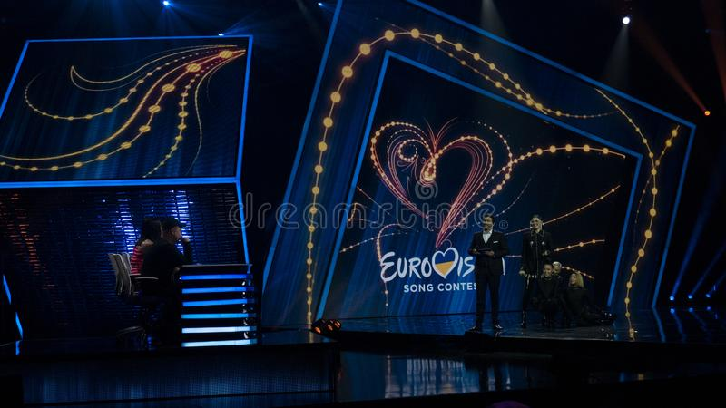 First semifinal of Ukraine`s selection for Eurovision 2019. Maruv. Kyiv, Ukraine, 02/09/2019: First semifinal of Ukraine`s selection for Eurovision 2019. Maruv ` royalty free stock photography