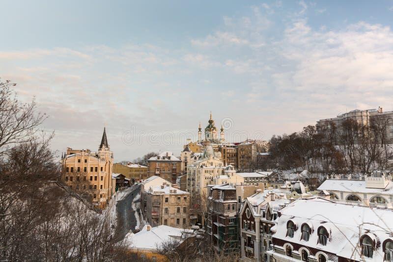 KYIV, UKRAINE - JANUAR 2017: Winteransicht von Kyiv, Ukraine stockbild