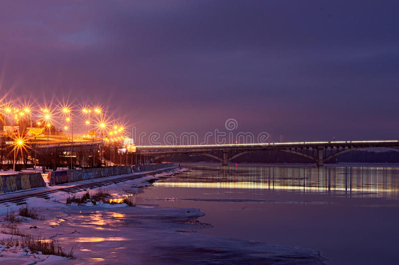 KYIV, UKRAINE-22 January 2017: Few minutes before sunrise. View to the Metro Bridge and the right bank of the Dnipro stock images