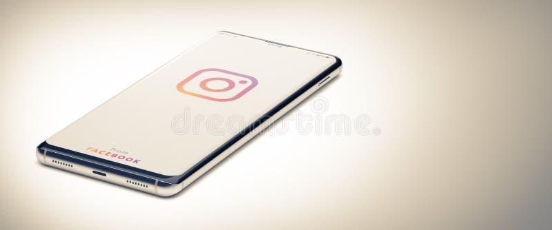KYIV, UKRAINE-JANUARY, 2020: Instagram på skärmbilden Smart Phone 3D royaltyfria foton