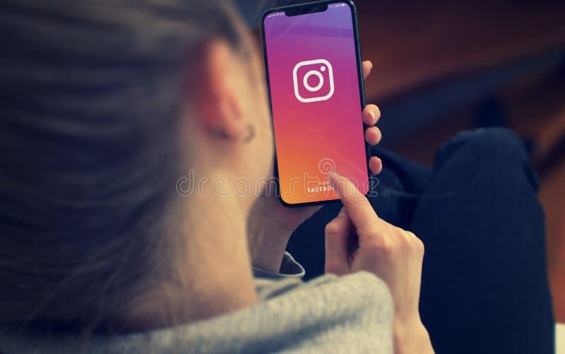 KYIV, UKRAINE-JANUARY, 2020: Instagram on Smart Phone Screen. Social Application Concept stock images