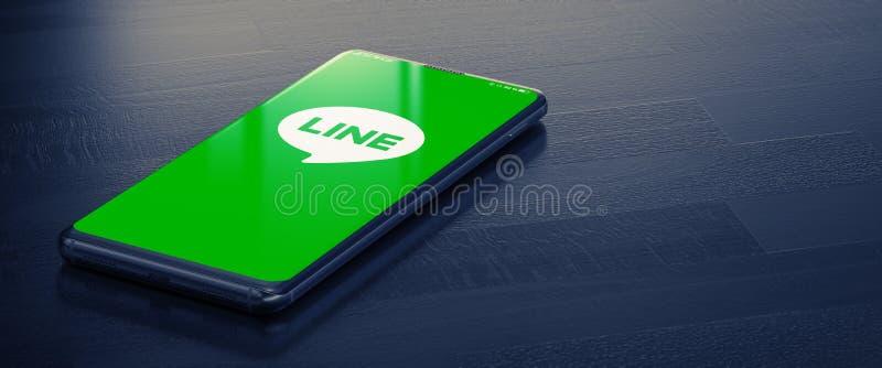 KYIV, UKRAINE-JANUARY, 2020: Line on Mobile Phone Screen. 3D. royalty free stock image
