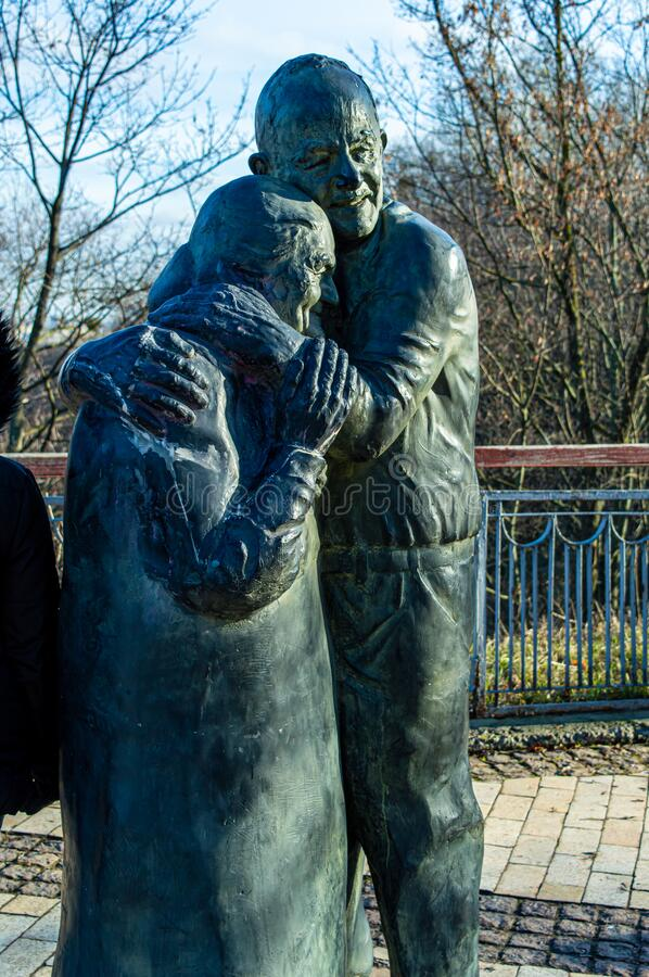 Monument to Italian prisoner of war Luigi Pedutto and consigned to forced labor Ukrainian Mokrin. KYIV, UKRAINE - JANUARY 12,2020: monument to Italian prisoner royalty free stock photos