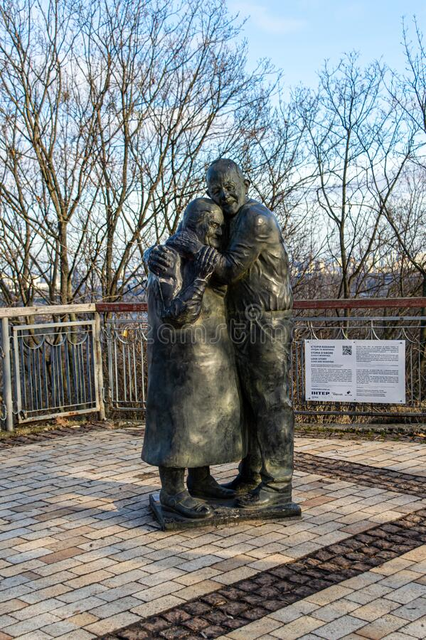 Monument to Italian prisoner of war Luigi Pedutto and consigned to forced labor Ukrainian Mokrin. KYIV, UKRAINE - JANUARY 12,2020: monument to Italian prisoner royalty free stock photography
