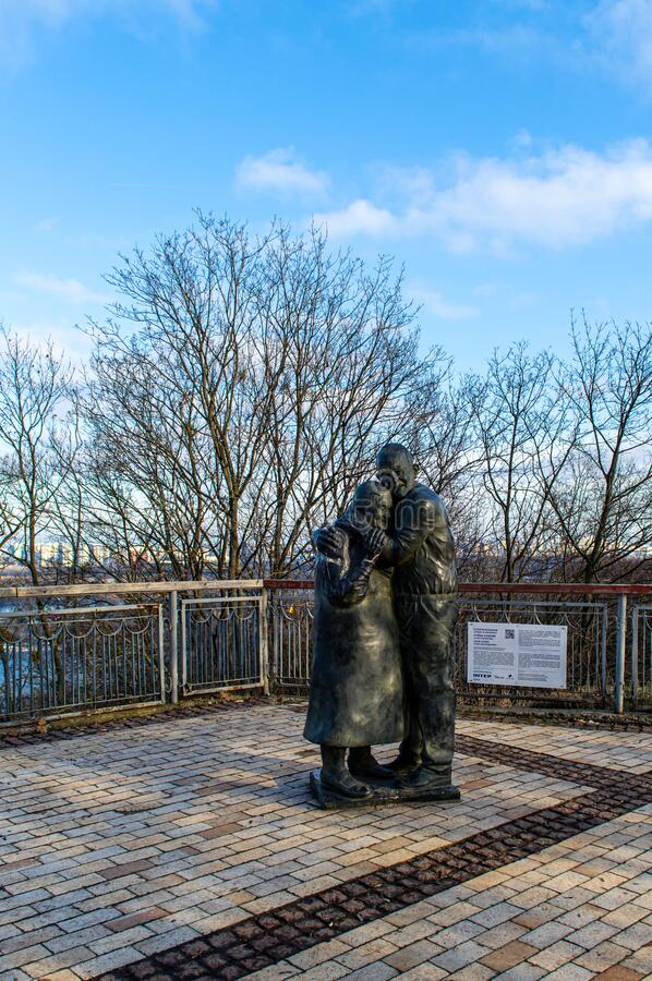 Monument to Italian prisoner of war Luigi Pedutto and consigned to forced labor Ukrainian Mokrin. KYIV, UKRAINE - JANUARY 12,2020: monument to Italian prisoner stock photo