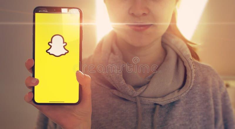 KYIV, UKRAINE-JANUARY, 2020: Snapchat on Mobile Phone Screen. Social Application Concept royalty free stock photos