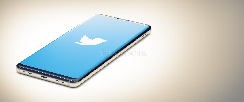 KYIV, UKRAINE-JANUARY, 2020: Twitter på skärmen Smart Phone 3D Begreppet social tillämpning royaltyfri foto