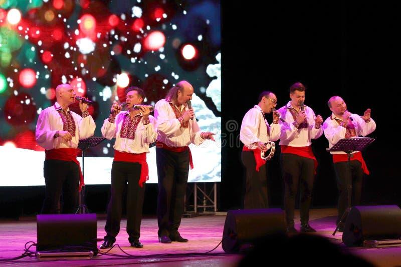Kyiv, Ukraine - January 16, 2019. Ukrainian jazz and folk acapella singers band Mansound. Sextet. Christmas concert in the hall of royalty free stock image