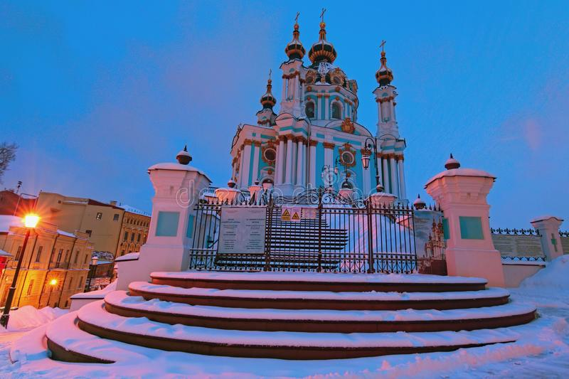 Wide angle view of Saint Andrew`s Church on a hill called Andriyivskyy Descent. Winter morning landscape stock photo