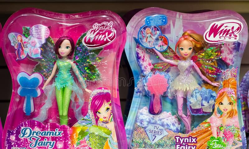Kyiv, Ukraine - January 27, 2019: World of Winx and Winx Club Dolls for sale in the store royalty free stock image