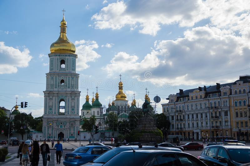 KYIV, UKRAINE - JUNE 1, 2017, Front view of the Saint Sophia`s Cathedral domes and Bell tower in Kyiv, Ukraine stock image