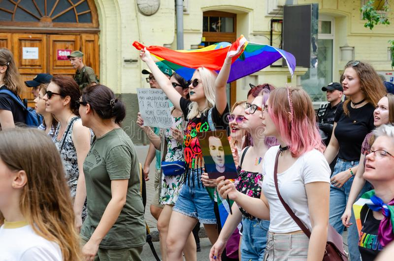 Kyiv, Ukraine - June 23, 2019. March of equality. LGBT march KyivPride. Gay parade stock images