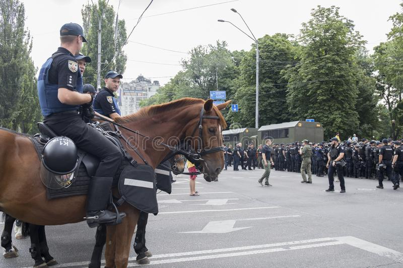 Kyiv, Ukraine - June 23, 2019. Mounted police in the city. Kyiv, Ukraine - June 23, 2019. Mounted police on the road in the city royalty free stock images