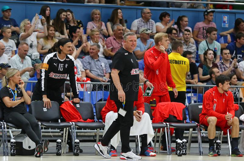 EHF EURO 2020 Qualifiers handball game Ukraine v Denmark. KYIV, UKRAINE - JUNE 12, 2019: Nikolaj JACOBSEN, head coach of Denmark National handball team during stock photography