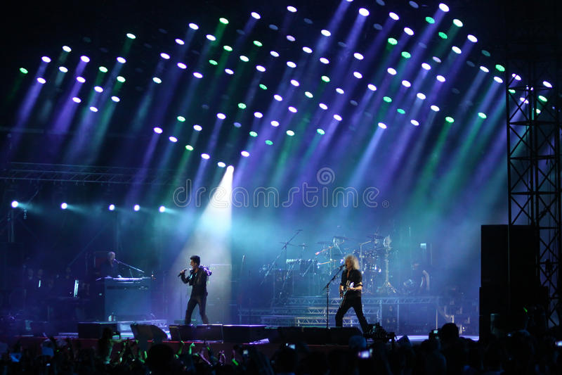 Queen with Adam Lambert perform onstage during concert in Kyiv royalty free stock photo