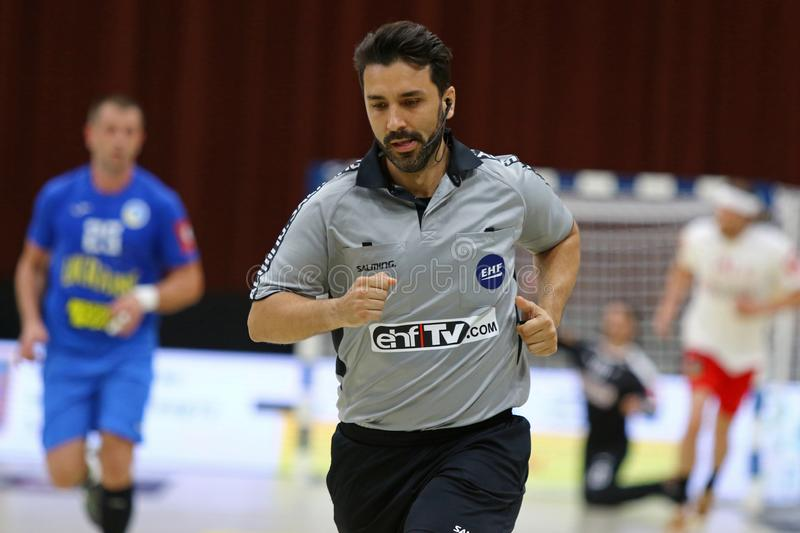 EHF EURO 2020 Qualifiers handball game Ukraine v Denmark. KYIV, UKRAINE - JUNE 12, 2019: Referee Ricardo Fonseca Portugal in action during the EHF EURO 2020 stock photography
