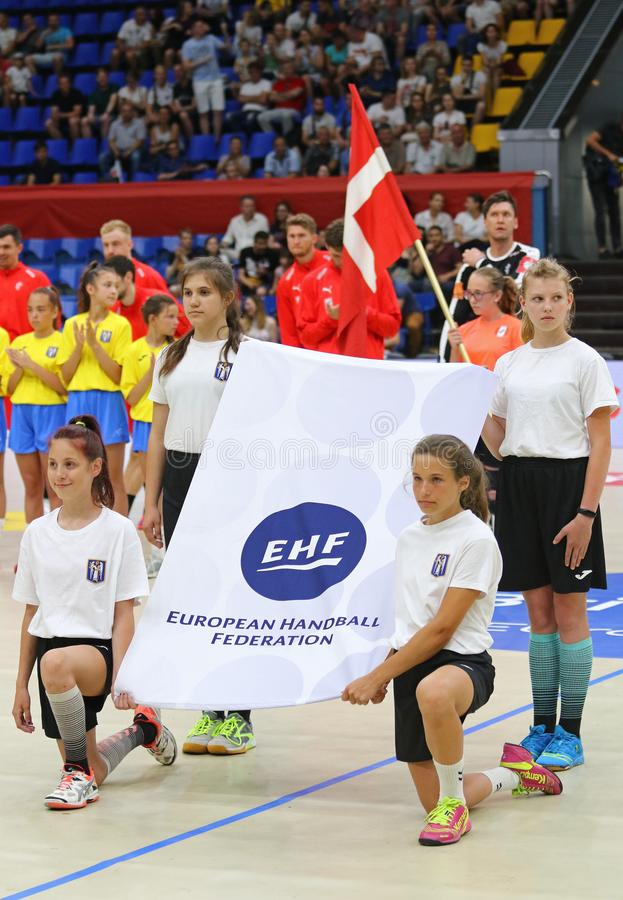 EHF EURO 2020 Qualifiers handball game Ukraine v Denmark. KYIV, UKRAINE - JUNE 12, 2019: Starting ceremony of the EHF EURO 2020 Qualifiers handball game Ukraine stock photo