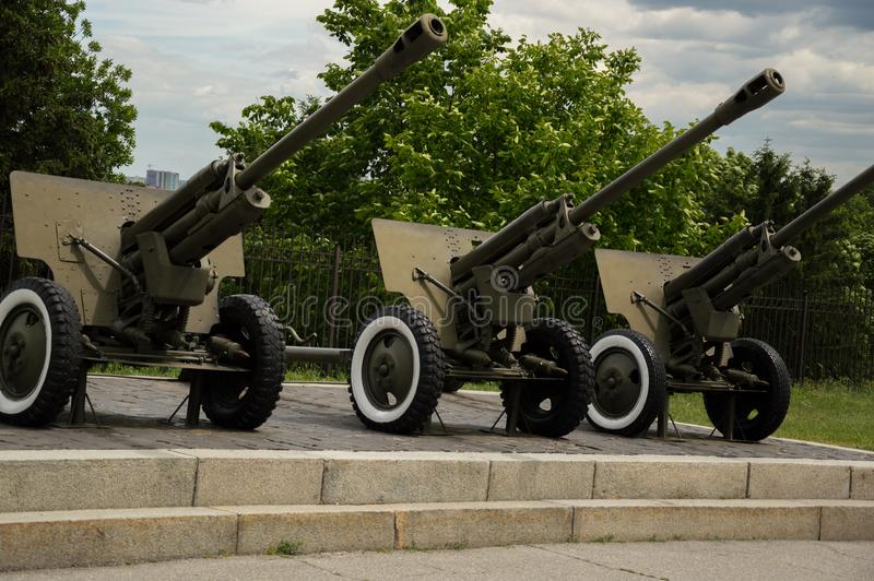 KYIV, UKRAINE - JUNE 1, 2017, Three soviet howitzer weapons standing outside in Second World War museum in Kyiv, Ukraine. KYIV, UKRAINE - JUNE 1, 2017, Three royalty free stock images