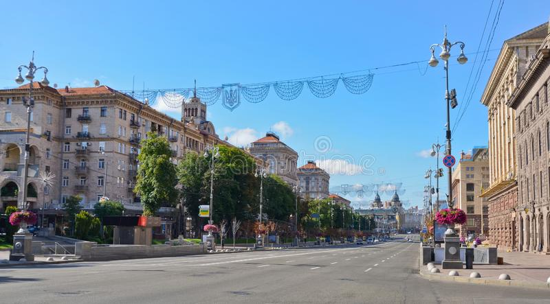 Kyiv. Ukraine. Khreshchatyk, the main street of Kyiv, the capital of Ukraine and a popular attraction for the city visitors royalty free stock photo