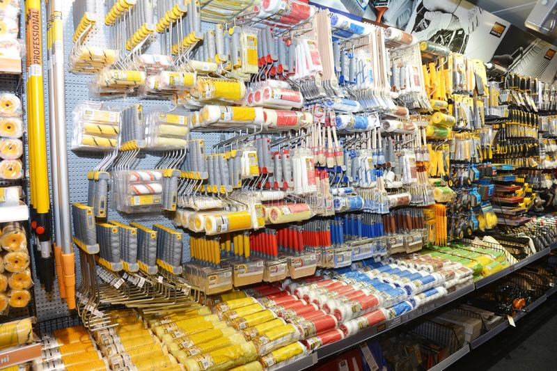 House paint rollers, painting brushes for sale in the store. KYIV, UKRAINE - March, 28, 2019: House paint rollers, painting brushes for sale in the store royalty free stock images