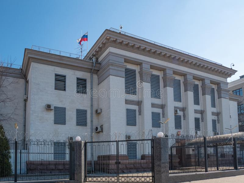 Side view of russian federation embassy in ukrainian capital city Kiev. KYIV, UKRAINE - MARCH 13, 2019: Side view of russian federation embassy in ukrainian stock images