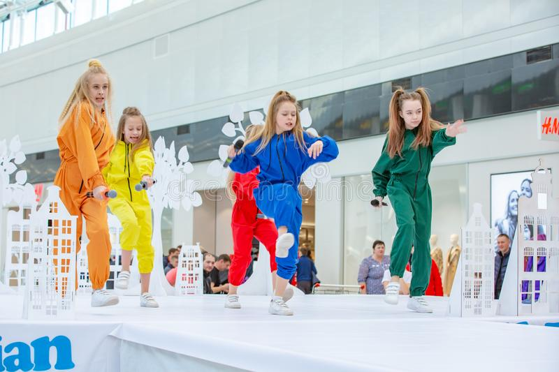 Kyiv, Ukraine March 03.2019. UKFW. Ukrainian Kids Fashion Day. A group of little girls singing or performing on stage stock photos