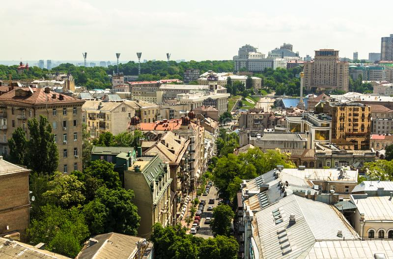 Aerial view from St. Sophia Cathedral on buildings of historical center of Kiev. stock photos