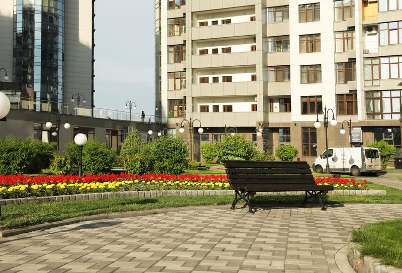 KYIV, UKRAINE - MAY 21, 2019: Beautiful view of housing estate in Pecherskyi district on sunny day. KYIV, UKRAINE - MAY 21, 2019: Beautiful view of modern stock image
