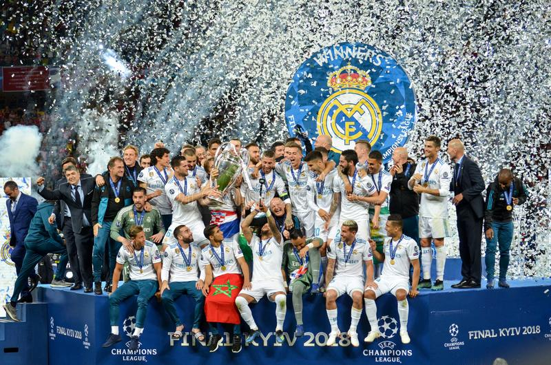 KYIV, UKRAINE - MAY 26, 2018: Footballers of Real Madrid celebrate the victory in the final of the UEFA Champions League 2018 in. Kiev match between Real Madrid royalty free stock photos