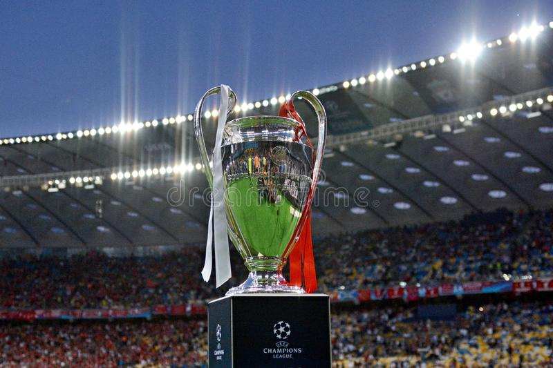KYIV, UKRAINE - MAY 26, 2018: General view of the Champions League trophy before the match UEFA Champions League Final between Re royalty free stock photos