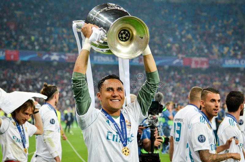 KYIV, UKRAINE - MAY 26, 2018: Keylor Navas of Real Madrid celebrate the victory in the final of the UEFA Champions League 2018 in. Kiev match between Real royalty free stock photography