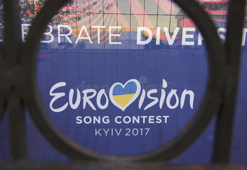 KYIV, UKRAINE - MAY,6 2017: -logo of Eurovision 2017 in Kyiv Ukraine. royalty free stock images