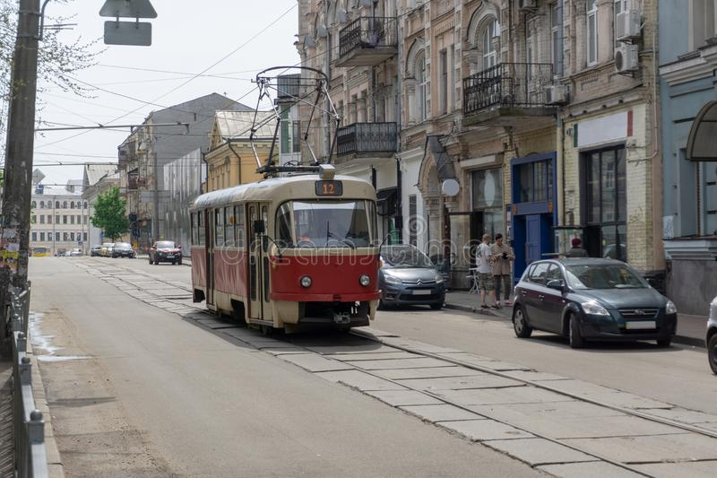 Kyiv, Ukraine - May 5, 2019:Old city tram is running through the city. royalty free stock photography