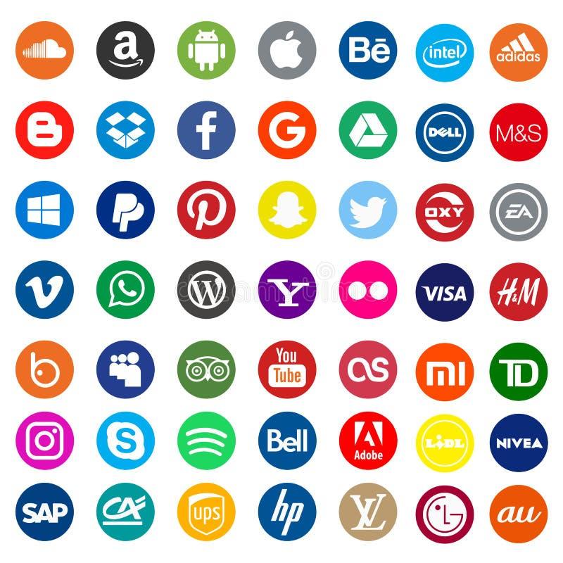 Kyiv, Ukraine - May 12, 2019: Set of most popular world companies logo set. Kiev, Ukraine - May 12, 2019: Set of most popular world companies logo set vector illustration