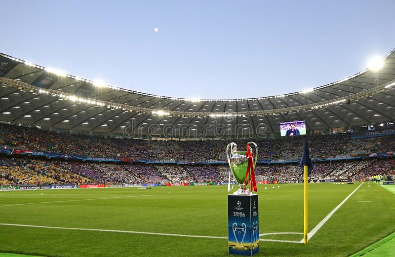 UEFA Champions League Final 2018 Real Madrid v Liverpool, Kiev,. KYIV, UKRAINE - MAY 26, 2018: UEFA Champions Laegue Trophy Cup presents before the final game stock photography