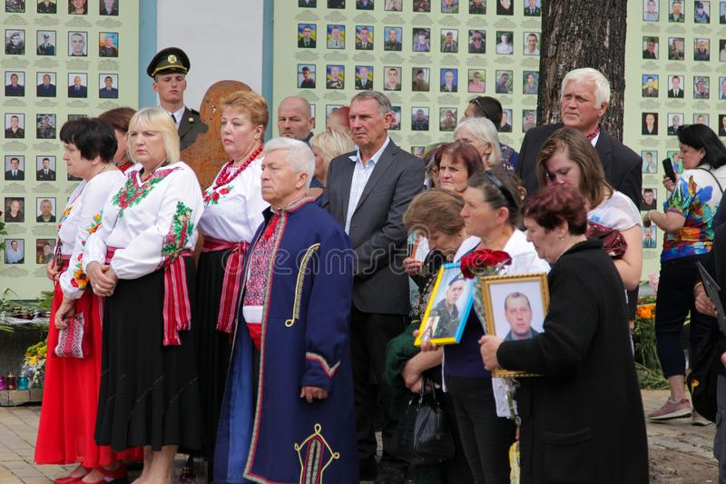 Kyiv / Ukraine - 08/29/2018 Memorial Day of the victims of the Russian-Ukrainian war. Memorial day of Ilovaisk 2014. royalty free stock photo
