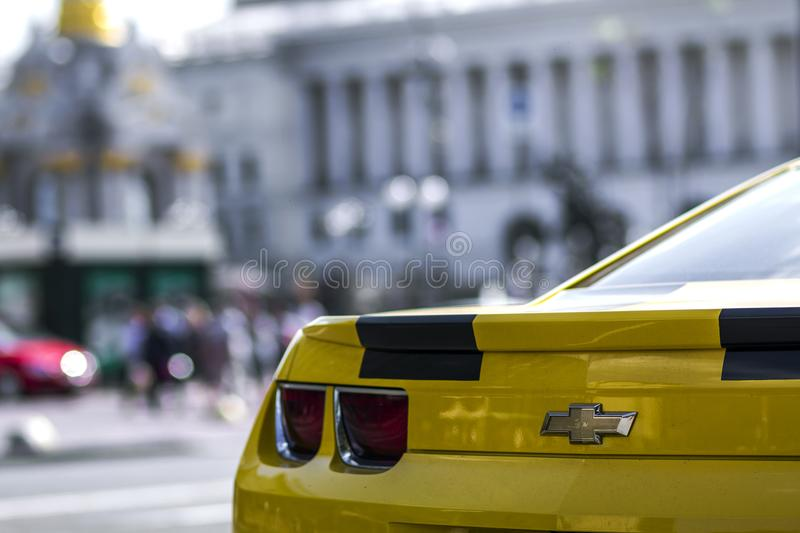 Kyiv, Ukraine - November 14, 2017: Close-up detail of modern yellow sports car royalty free stock photo