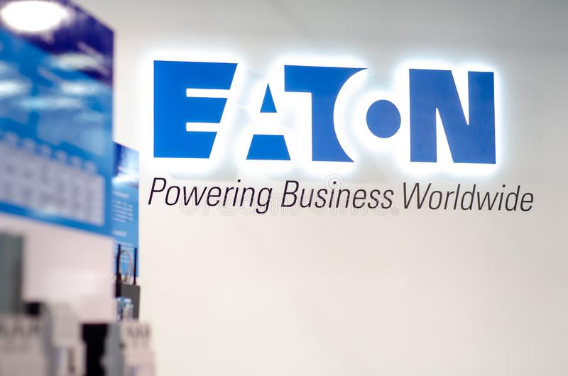 Kyiv, Ukraine - November 7, 2019: Eaton: Electrical and Industrial Exposition Stand at the exhibition.  stock photo