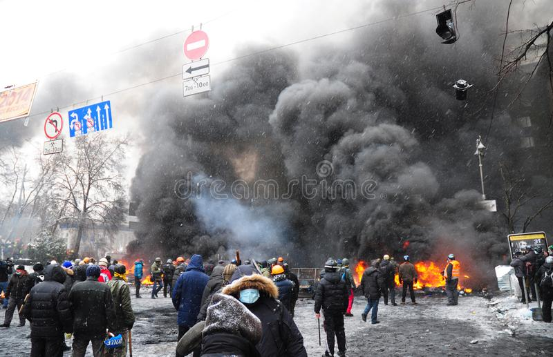 KYIV, UKRAINE - November 30, 2019: Ukraine crisis. Panoramic view on Ukraine Protests Barricades from Car Tires and Pavement Stone. In Kyiv. Street fights in stock photography