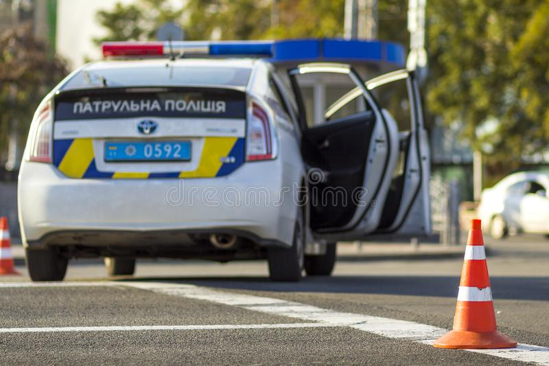 Kyiv, Ukraine - 12. November 2017: Ukrainischer Patrouillenpolizeiwagen lizenzfreies stockfoto