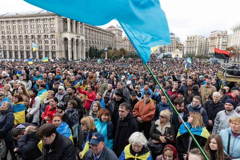 Protests on Independence Square in Kyiv, Ukraine stock images