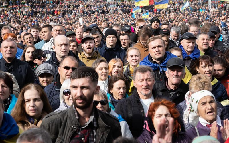 Protests on Independence Square in Kyiv, Ukraine royalty free stock photo