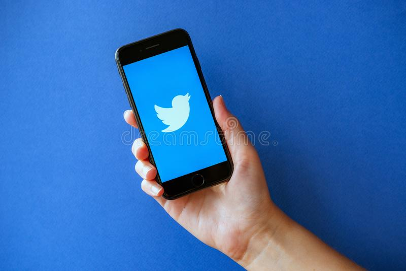 Apple iPhone 8 with Twitter Logotype on a Screen stock photography