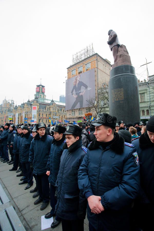 KYIV, UKRAINE: Police forces guarding the monument of the communist leader Lenin during the pro-European protest royalty free stock images