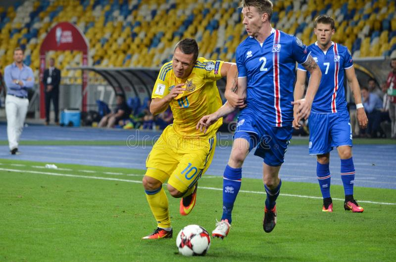 Download KYIV, UKRAINE - SEPT 5, 2016: Evgeniy Konoplyanka Against Birkir Editorial Stock Image - Image of team, stadium: 120020159