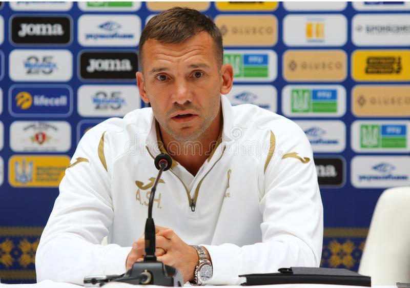 Andriy Shevchenko press-conference in Kyiv, Ukraine. KYIV, UKRAINE - SEPTEMBER 4, 2018: Andriy Shevchenko, Ukraine National Football Team manager attends press stock photo