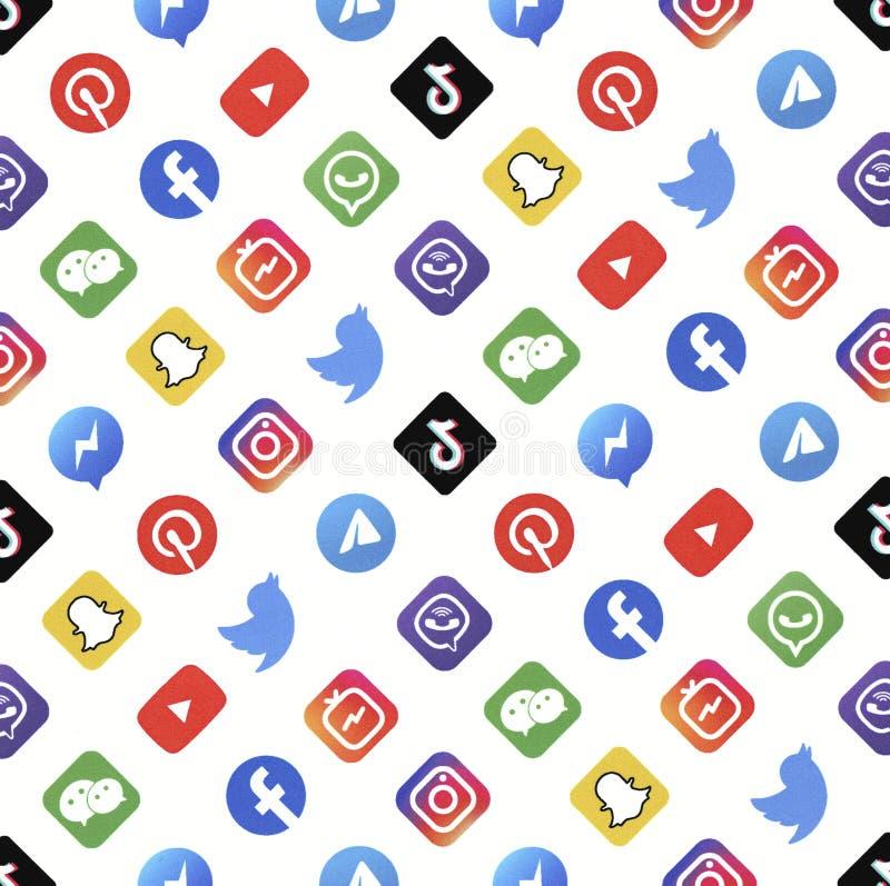 Logotypes Pattern of Popular Social Network stock photo