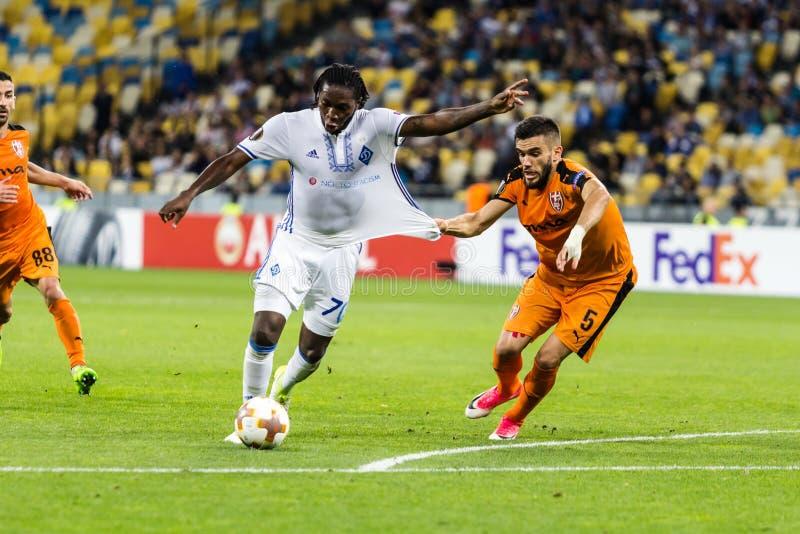 UEFA Europa League football match Dynamo Kyiv – Skenderbeu, Se. Kyiv, Ukraine - September 14, 2017: Dieumerci Mbokani of Dynamo Kyiv fighting for the ball stock image
