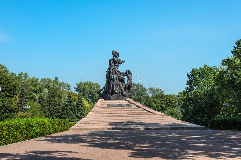 Monument to the victims in Babin Yar in Kyiv, Ukraine. Kyiv, Ukraine - September 3, 2019: Monument to Soviet citizens, prisoners of War soldiers and officers of royalty free stock image